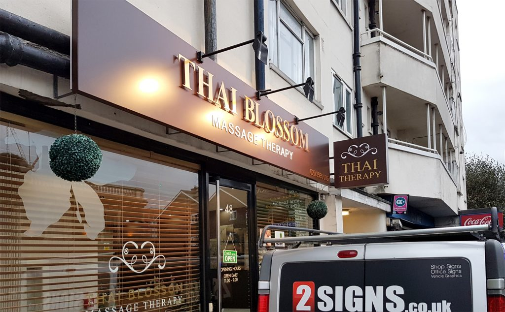 THAI BLOSSOM beauty salon Fascia sign board with lighting and double sided Projecting Signs in Wandsworth – London.
