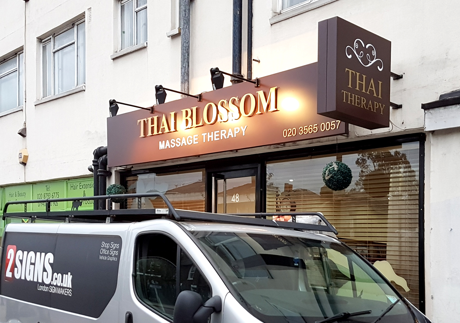 Thai Blossom Beauty Salon Fascia Sign Board With Lighting