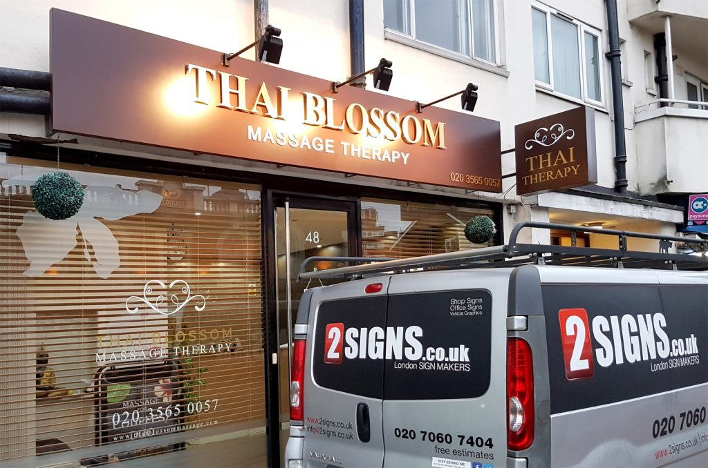 New signage for THAI BLOSSOM beauty salon in Wandsworth – SW London.